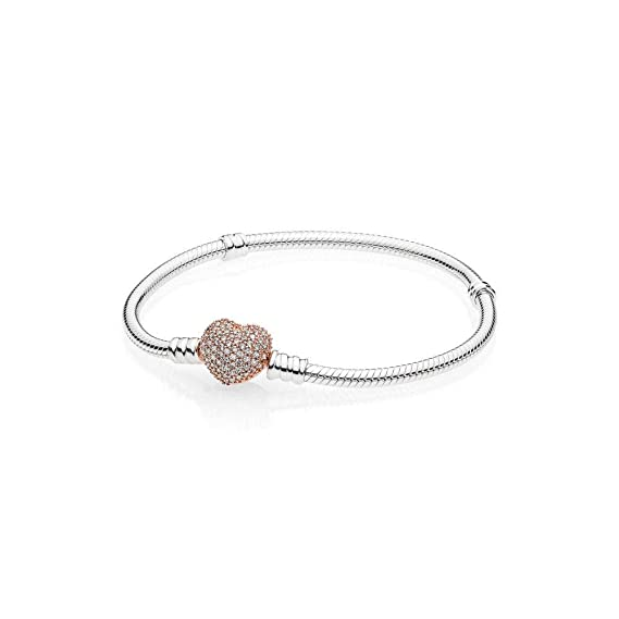 08fdd5371 Image Unavailable. Image not available for. Color: Pandora Moments Silver  Bracelet with Rose Pave Heart Clasp 586292CZ21