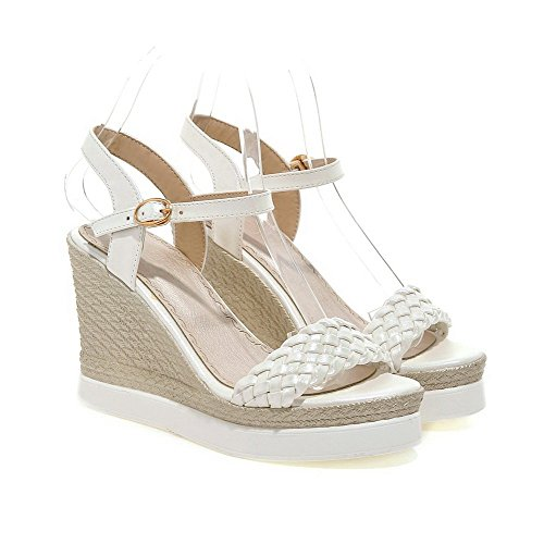 AmoonyFashion Womens Soft Material Open-Toe High-Heels Buckle Solid Sandals White dHWTZ1oSl