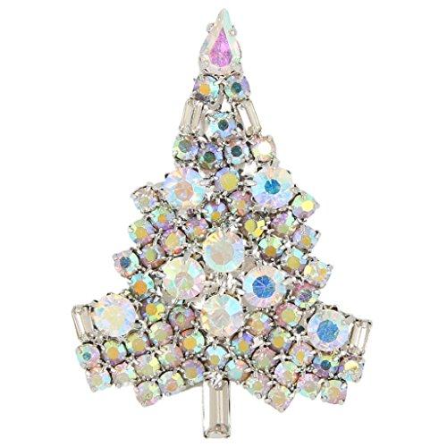 Crystal Christmas Austrian Tree - EVER FAITH Art Deco Christmas Tree Silver-Tone Brooch Iridescent Clear AB Austrian Crystal