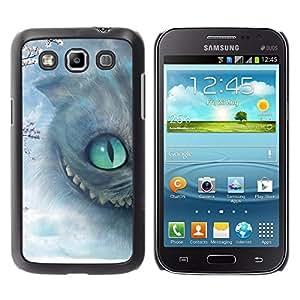 Caucho caso de Shell duro de la cubierta de accesorios de protección BY RAYDREAMMM - Samsung Galaxy Win I8550 I8552 Grand Quattro - Cat Halloween Grey Eye Kitten