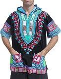 Full Funk Dashiki Light Hoody In Black Base Colors Festival Party Shirt Short Sleeve, X-Large, Multi - Black - SkyBlue