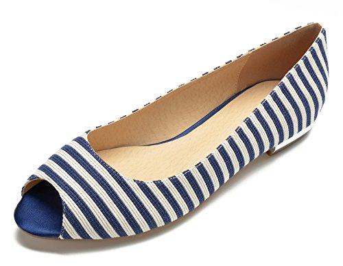 MarHermoso Peep Shoes Fashion Womens Blue Flats Toe Bellerinas SFqaxSf