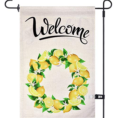 Zonon Summer Garden Flag Welcome Lemon Flag Wreath with Garden Flag Stoppers Rubber Stops House Flag Double Sided 12.5 x 18 Inch Burlap Yard Decor