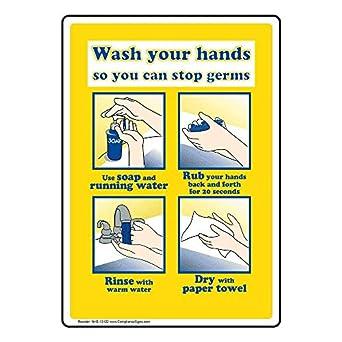 compliancesigns plástico lávese las manos cartel con texto ...