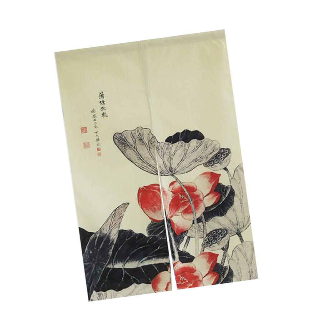 Sharplace Tenda per Porta Giapponese Noren Decorativo in Cotone Lino Tappezzeria Anti-Termica - Fiori di Loto 85x120cm