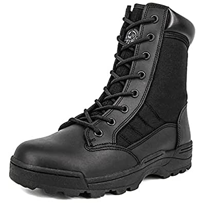 Milforce Men's 8 Inch Military Tactical Boots Speedlace Desert Boots Combat Outdoor Work Shoes (6 D (M) US, Black)
