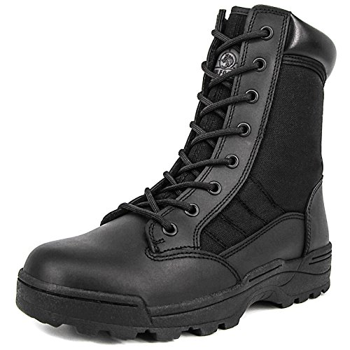 Milforce Men's 8 Inch Military Tactical Boots Speedlace Desert Boots Combat Outdoor Work Shoes (9 D (M) US, Black) (Speedlace Black Leather Combat Boots)