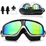 Sunnec Large Frame Swim Goggles, Colorful Swimming Glasses with Anti-Fog, UV Protection, Free Protection Case, Fit for Adult Men Women Youth