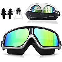 Sunnec Large Frame Swim Goggles, Colorful Swimming...