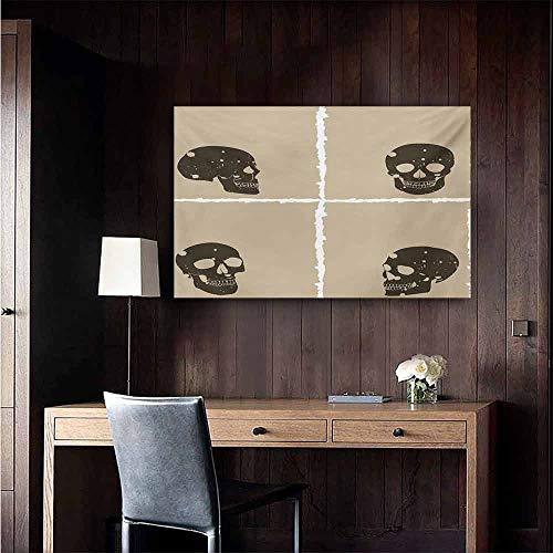 duommhome Grunge Modern Oil Paintings Skull Figure on Murky Flat Framework Halloween Crossbones Spooky Monster Image Canvas Wall Art 28
