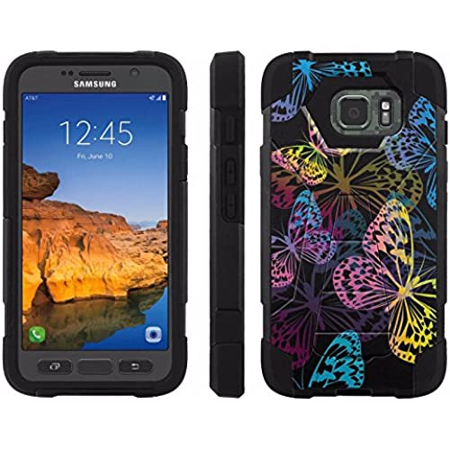 AT&T [Galaxy S7 Active] ShockProof Case [ArmorXtreme] [Black/Black] Hybrid Defender [Kickstand] - [Rainbow Butterfly] for Samsung Galaxy [S7 Active] Sales