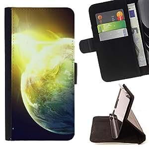 BullDog Case - FOR/Apple Iphone 5 / 5S / - / Shining Planet /- Monedero de cuero de la PU Llevar cubierta de la caja con el ID Credit Card Slots Flip funda de cuer