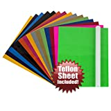Angel Crafts 30.5cm x 25cm Heat Transfer Vinyl Sheets (16 PACK) with Teflon Sheet for T Shirts, Hats, Clothing - Best Iron On HTV Vinyl for Silhouette Cameo, Cricut - Use with Heat Press Machine Tool (12in. x 10in.)