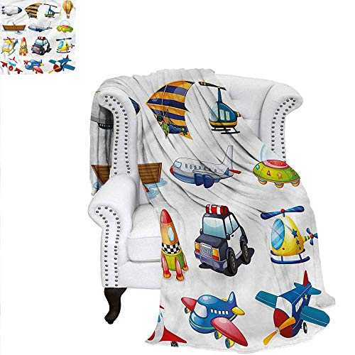 RenteriaDecor Boys Room Super Soft Blanket Road Trip Boat Ride Oversized Travel Throw Cover Blanket 50