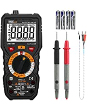 Multimètre, Testeur Electrique, Tacklife DM01M Avancé TRMS 6000 Points/Ampèremètre /Voltmètre/Ohmmètre /Ecran LCD Rétroéclairé/NCV /Mesure de Température Noir et Rouge (Livraison Aléatoire)