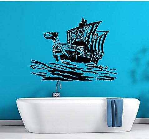 Tatouage Mural One Piece Bateau Pirate Going Merry Vinyle Noir L Amazon Fr Bricolage