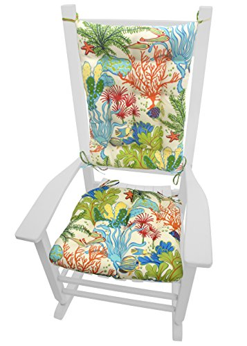 Porch Rocker Cushions - Splish Splash Tropical Reef Fish and Coral - Indoor / Outdoor: Fade Resistant, Mildew Resistant - Latex Foam Fill, Reversible, Made in USA (Reverse to Cabana Stripe)