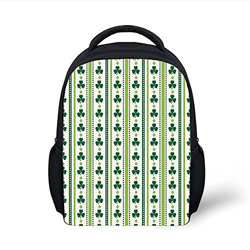 iPrint Kids School Backpack Floral,Clovers Vertical Lines and Dots Irish Traditional Floral Pattern,Lime Green Dark Green White Plain Bookbag Travel Daypack