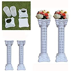 "4Pcs Elegant Wedding Roman Column Set Pillars Decoration Party Flower Pot Columns Decor Adjustable Height And Holds Flower Plate Plastic Wedding Event Column(40"" in - 4 Columns)"