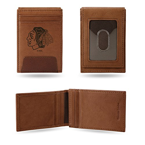 (Rico Industries, Inc. Chicago Blackhawks Premium Brown Leather Money Clip Front Pocket Wallet Hockey)