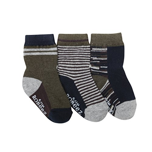 - Robeez Baby Boys' 3-Pack Socks, athletic/olive/navy/grey, 0-6 Months