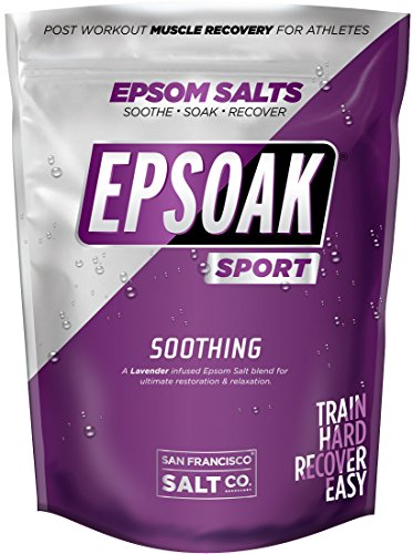 Epsoak SPORT Epsom Salt for Athletes - 5 lbs. SOOTHING Therapeutic Soak with Lavender Essential Oil (Best Epsom Salt For Athletes)