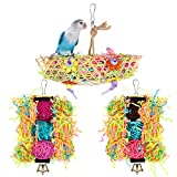 Pawaboo Bird Parrot Toys 3 Packs, Bird Chewing Foraging Shredder Toy Bird Cage Hammock Hanging Swing with Bells for Small Bird, Parakeets, Cockatiels, Conures, Budgie, Lovebirds, Hummingbird, Finches