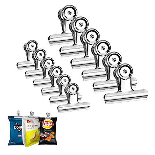 Chip Clips Bag Clips Food Clips - Heavy Duty Clips for Bag Stainless Steel Bulldog Clips Air Tight Seal Good Grip Clips Sealed Coffee Cubicle Hooks for Office School Home Kitchen Use Pack of 12