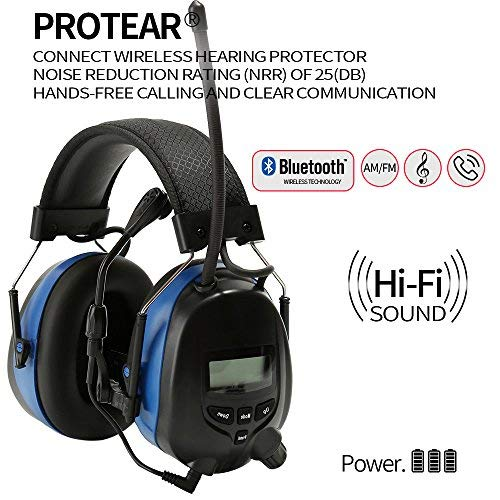 Noise Reduction Wireless Earmuffs with Bluetooth AM FM Digital Radio and Microphone,NRR 25dB Professional Ear Hearing Protection Headphones,Electronic Ear Defenders for Working Mowing Construction by PROTEAR (Image #1)
