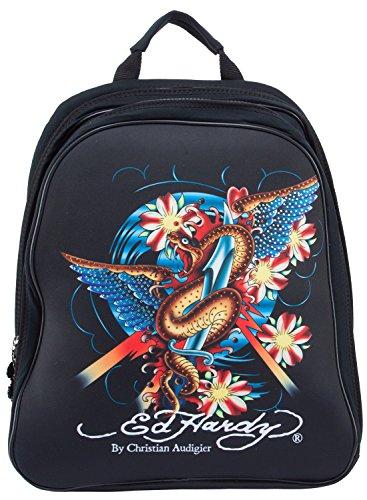Ed Hardy Nina Snake Computer Case Notebook Backpack - Black Ed Hardy Womens Bags
