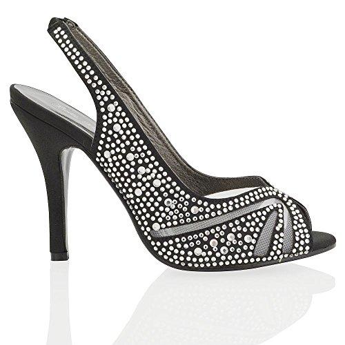 ESSEX GLAM Nuevas sandalias de punta abierta elegantes de satín con diamantes para bodas y fiestas Negro Satín