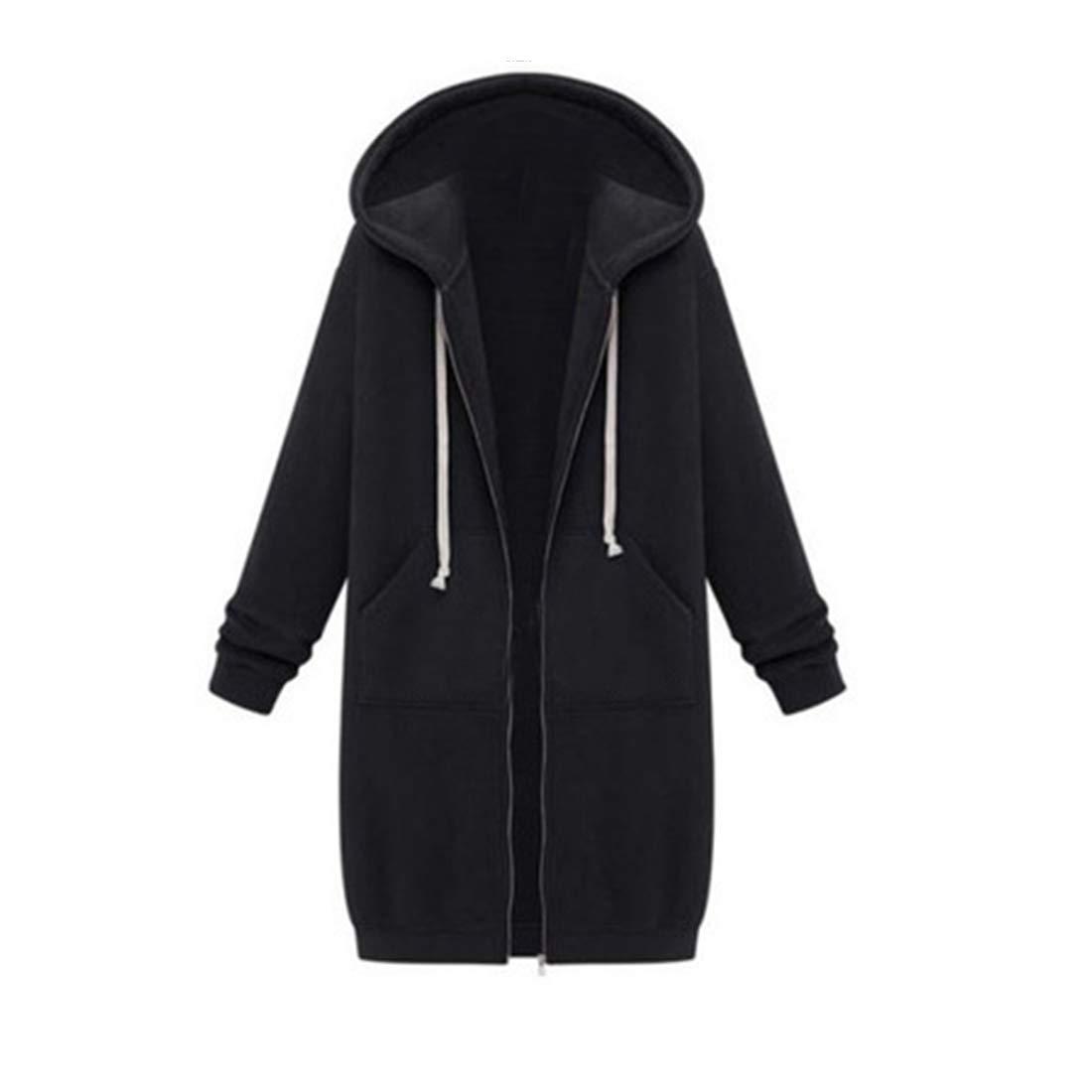 Longline Velvet Zipped Sweater Coat Zhhlinyuan Ladies Loose Hoodie Sweatshirts