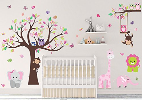 (DEKOSH Kids Pink Jungle Theme Peel & Stick Girl Nursery Wall Decal, Colorful Owl Giraffe Lion Tree Decorative Sticker for Baby Bedroom, Playroom Mural)