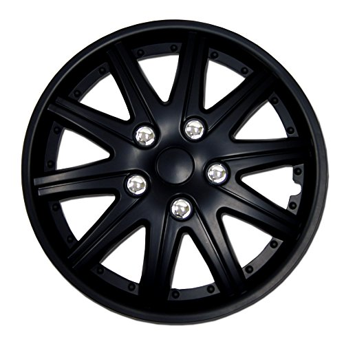TuningPros WSC-027B15 Hubcaps Wheel Skin Cover 15-Inches Matte Black Set of 4