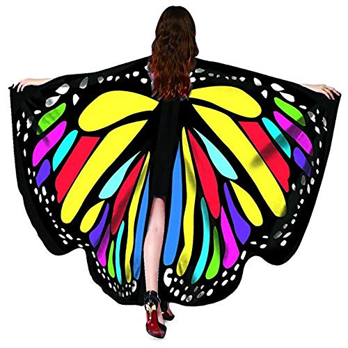 2018 New Womens Halloween Butterfly Wings Shawl Cape Scarf Fairy Poncho Shawl Wrap Costume Accessory… (Butterfly Rainbow, 168x135cm) ()