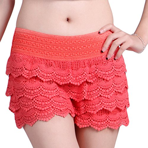 Retro Hot Pants - HDE Women's Lace Shorts Fitted Scallop Hem Crochet Mini Hot Pants (Coral, X-Small)