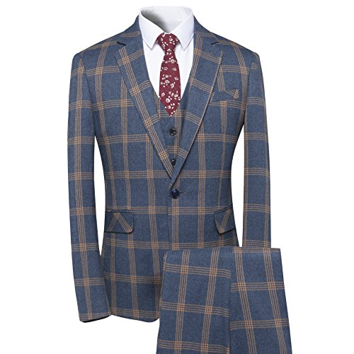 Men's Plaid Tweed 3 Piece Suit Slim Fit One Button Dinner Suit Tuxedo Green ()