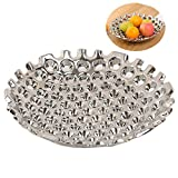 WEIDILIDU Large Ceramic Fruit Bowl - Candy Dish - Salad Bowl - Decorative Center Bowl - Service Bowl - Best Service Fruit Plate, Punched - Unique Modern Design - Silver