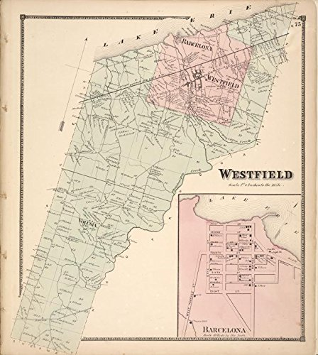 Historic 1867 Map | Westfield [Township]; Barcelona [Township] | Atlases of the United States | New topographical atlas of Chautauqua County, New York. From actual surveys especially for this - Map Westfield County North