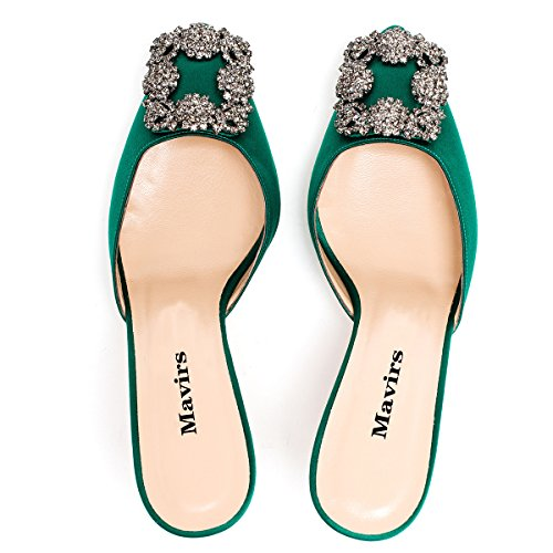 sale online store buy cheap deals Mavirs Women's Satin Pointy Toe Slide Sandals Rhinestones Kitten Heels Pumps Jeweled Slingback Heeled Mules Shoes Green 6.5cm outlet footlocker pictures free shipping low shipping 100% guaranteed cheap online a99NuV