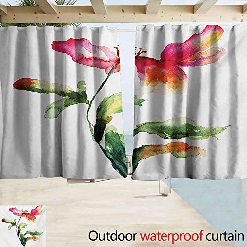 AndyTours Window Curtains,Watercolor Flower Shaded Single Poppy Flowering Plant Muse Nature Earth Divine Grace,Rod Pocket Energy Efficient Thermal Insulated,W55x39L Inches,Red Green - Valance Divine