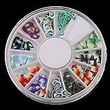 Wheel Fimo Glitter Mini Smiling Nail Art Random Mixed 120pcs Slice Patterns Feather