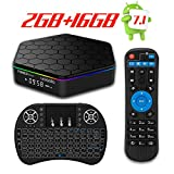 YAGALA T95Z Plus Android 7.1 TV BOX with Amlogic S912 Octa core 2GB DDR3 16GB EMMC Dual Wifi 2.4GHz/5GHz HDMI Support Bluetooth 4.0 4K 3D with Mini Wireless Keyboard with Backlit