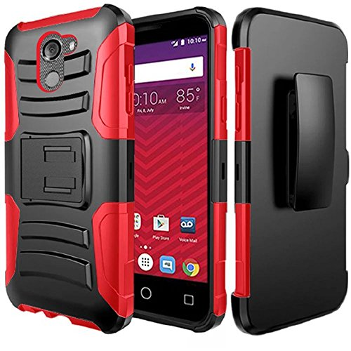 ZTE Avid 4 / ZTE Blade Vantage N837 / ZTE Fanfare 3 Z852 / ZTE Tempo X N9137 case, Luckiefind Dual Layer Hybrid Side Kickstand Cover Case With Holster Clip, Tempered Glass Screen (Holster (Faceplate Cover Case Blue Clip)