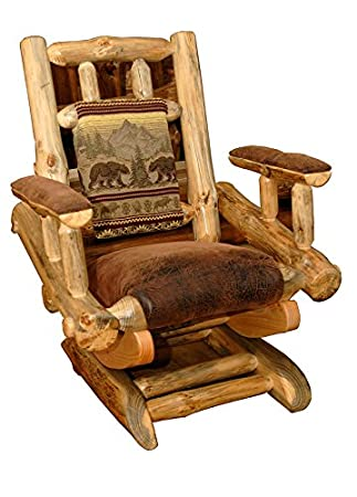 Rustic Pine Log Rocking Chair *6 Fabric Options*   Amish Made In USA (