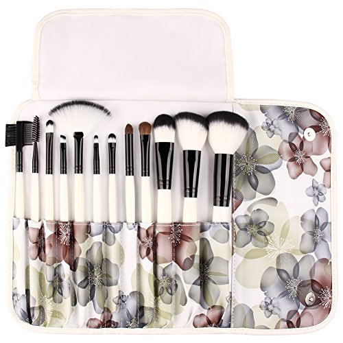 UNIMEIX Professional 12 Pcs Makeup Brushes Cosmetics Brush Set With Flower Pattern Case ( Black Flower) (Pink Gift Set Apron)