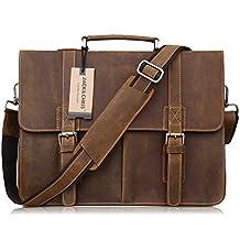 Jack&Chris Men's Leather Briefcase Messenger Bag Business Laptop Bag, N1115