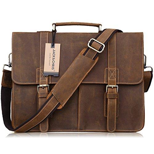 Jack&Chris Men Leather Laptop Bag Briefcase Messenger Bag, N1115 by Jack&Chris