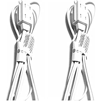 Intertek Wall Hugger Extension Cord 6 feet -  2 Pack - White Color