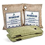 Libertan Natural Air Purifying Bags 4 Pack Bamboo Activated Charcoal Air Purifier Bags (200g-75g) – Chemical Free, 100% Natural Charcoal Air Freshener Absorbs Moisture, Odors for Home, Car, Shoes
